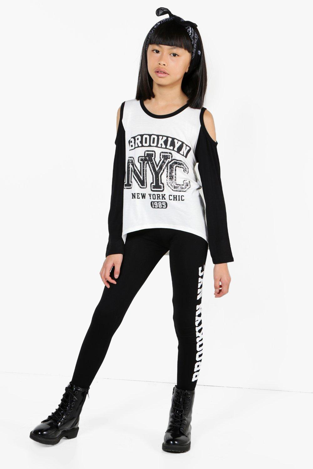 Girls Cold Shoulder Tee & Leggings Set