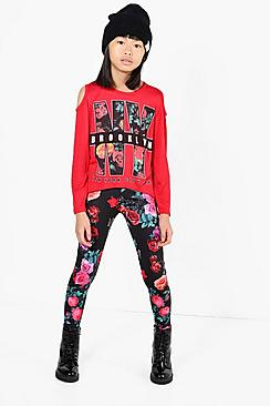 Girls Floral Print NY Tee & Legging Set
