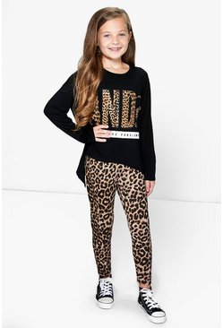 Girls Leopard Dip Back Tee & Legging Set