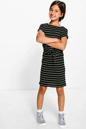Girls Knot Front Tee & Midi Skirt Set