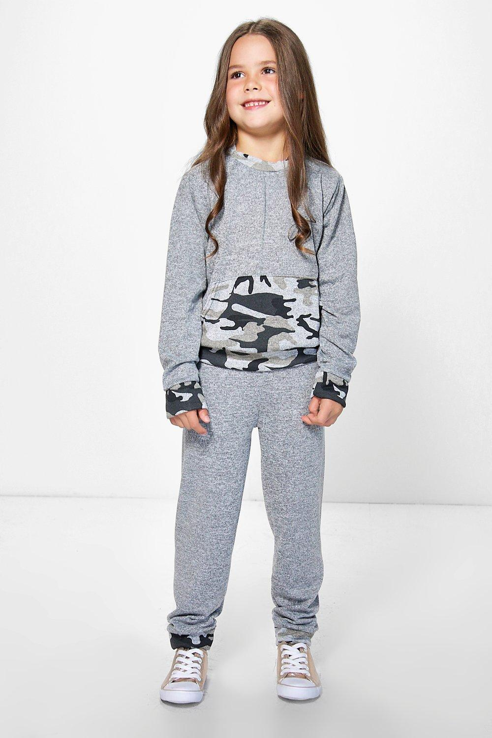 Girls Camo Contrast Tracksuit Set