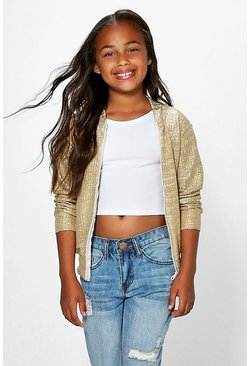 Girls Metallic Bomber Jacket
