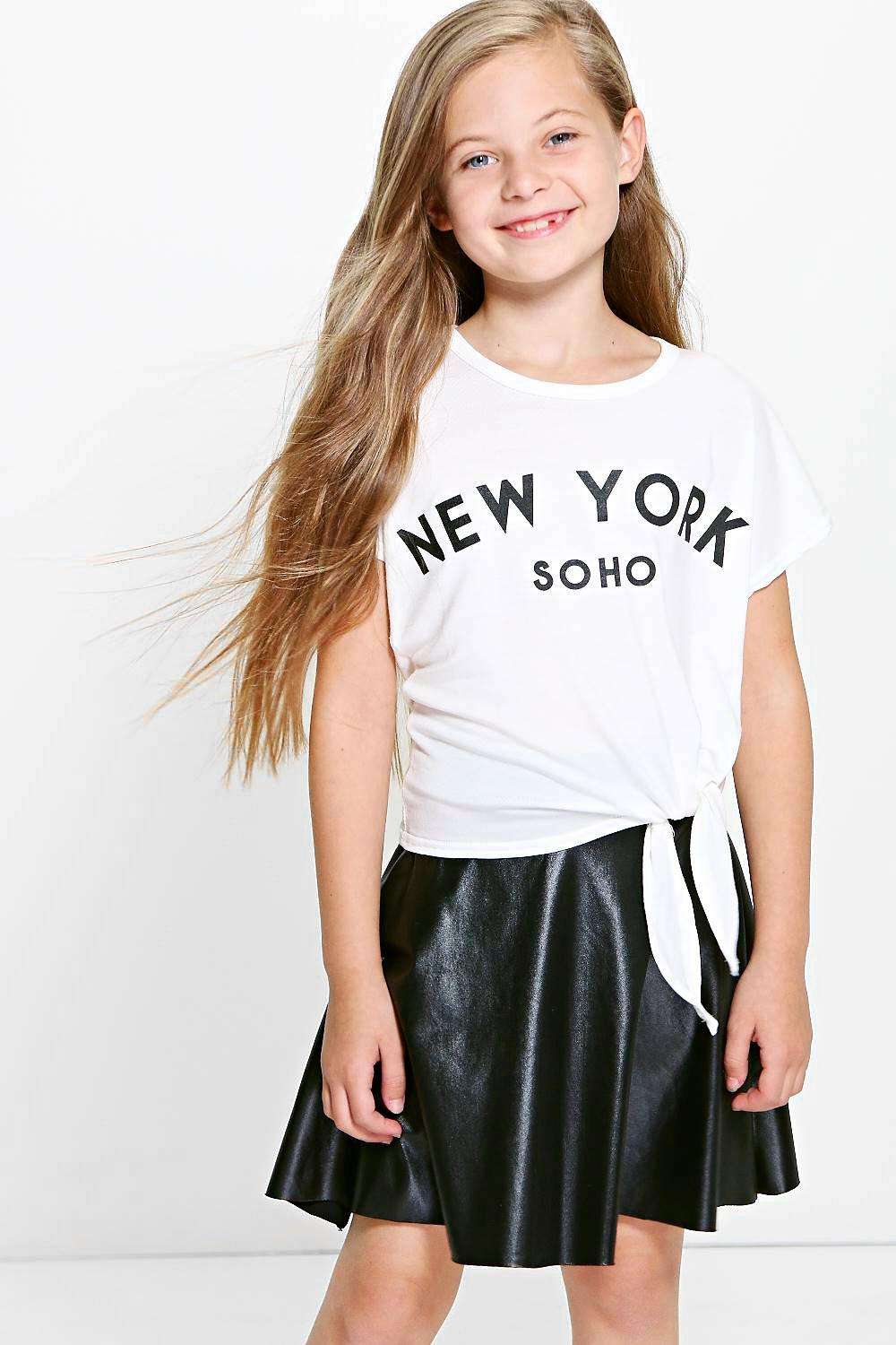Girls Knot Front Soho Crop Tee