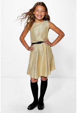 Girls Metallic Belted Skater Dress