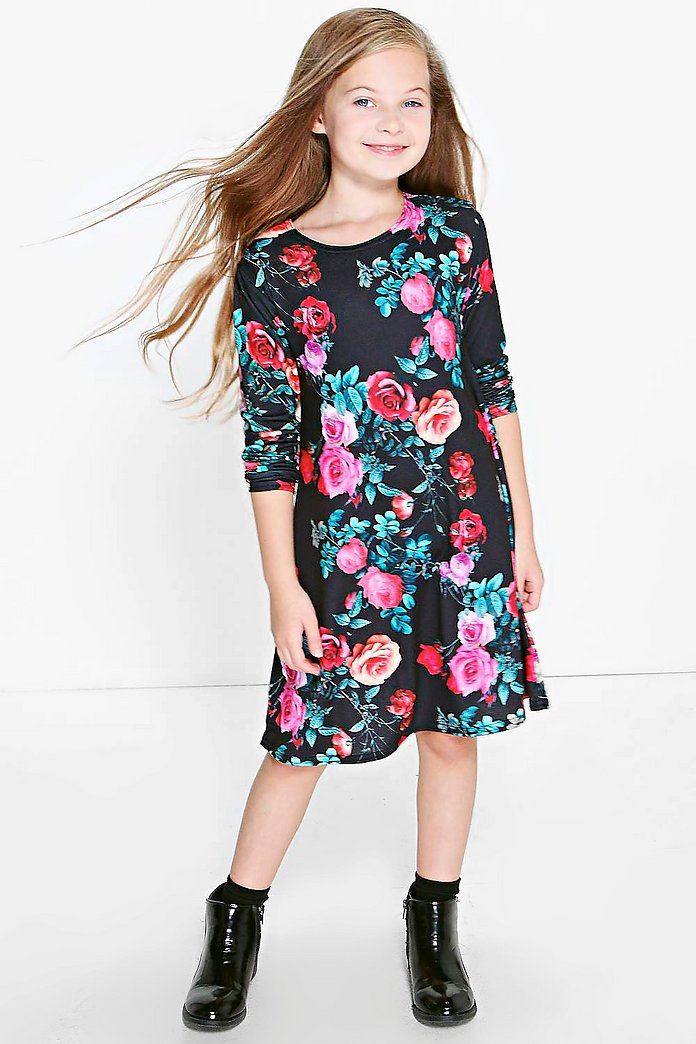 Girls Floral Print Long Sleeve Swing Dress