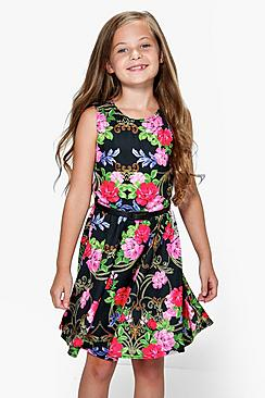 Girls Floral Full Circle Skater Dress