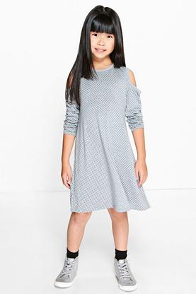 Girls Cold Shoulder Swing Dress
