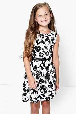 Girls Floral Belted Skater Dress