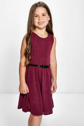 Girls Knitted Belted Skater Dress