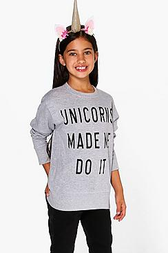 Girls Unicorn Sweat Top