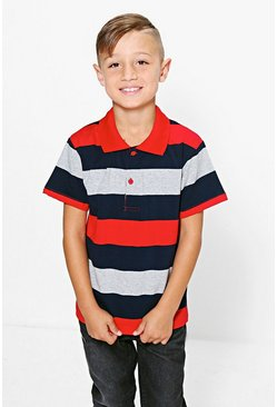 Boys Striped Polo T Shirt
