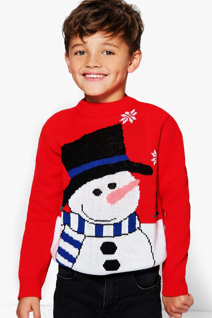 Snowman Christmas Jumper  red