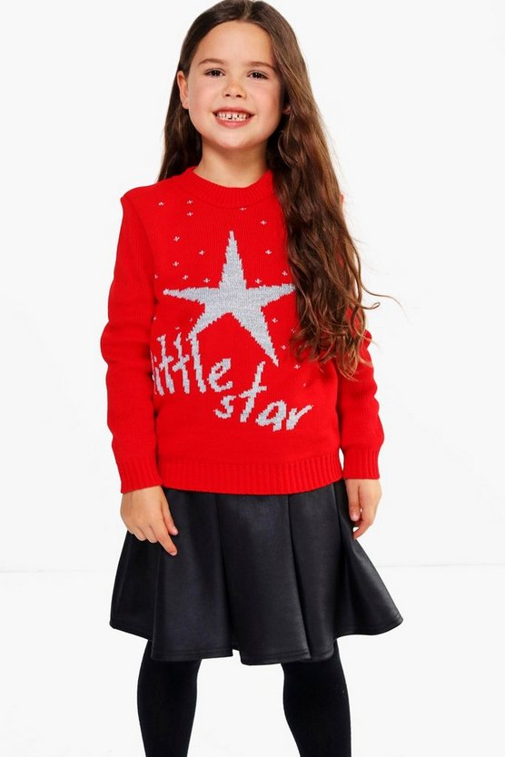 Girls Little Star Christmas Jumper