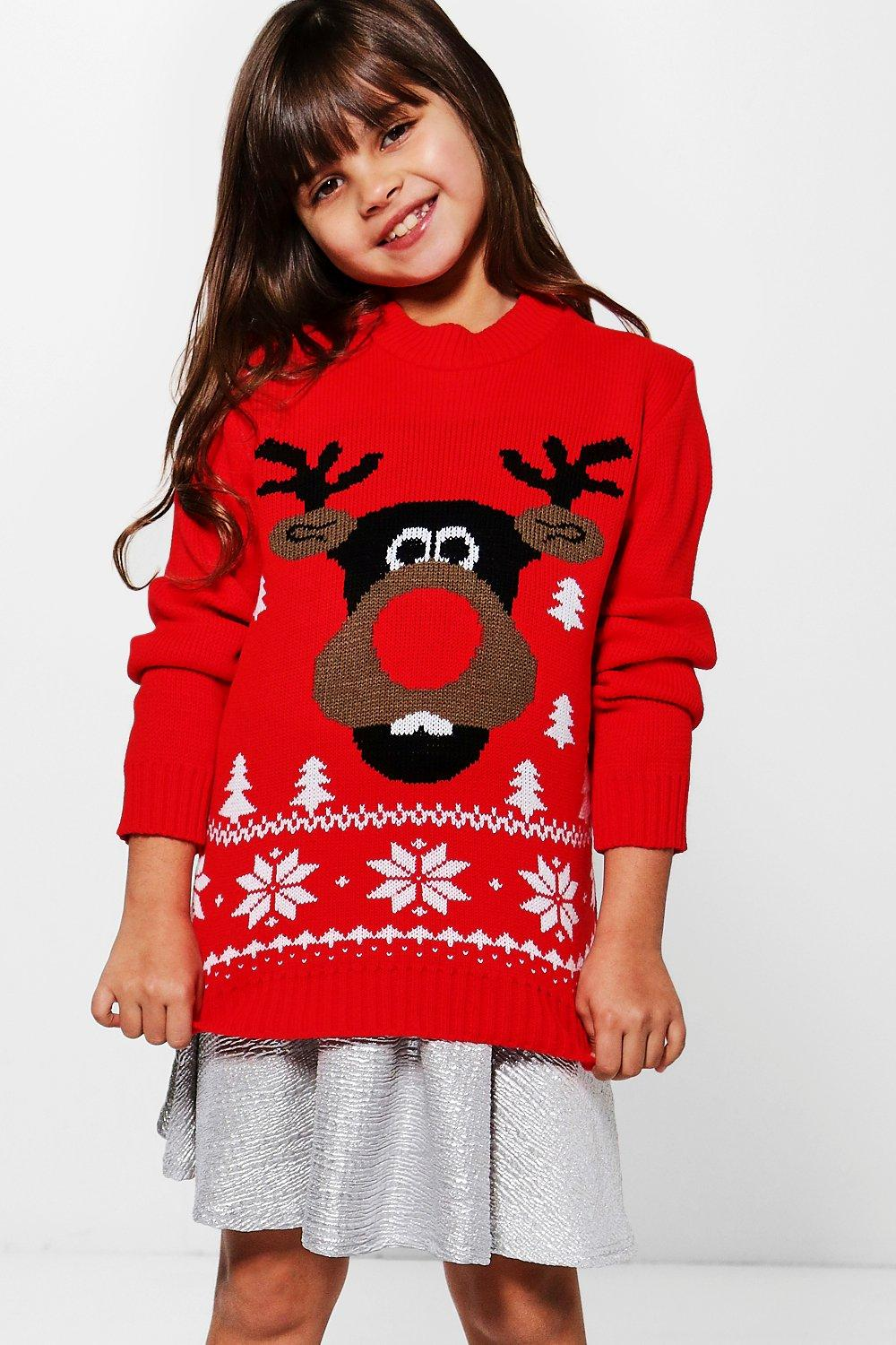 Girls 3D Rudolph Nose Christmas Jumper
