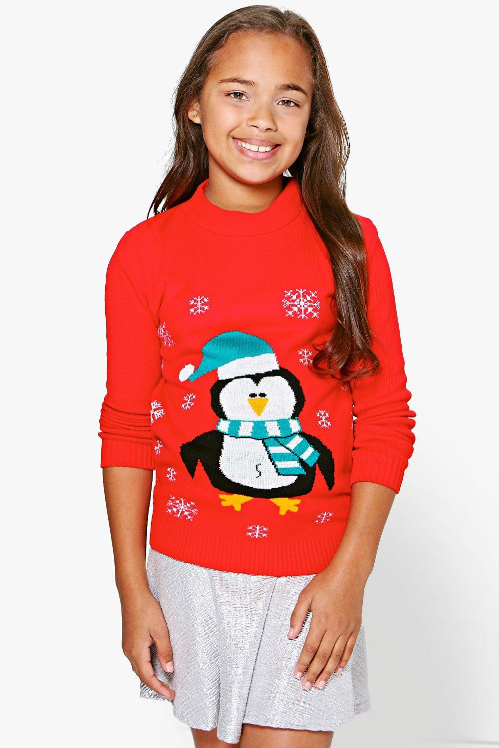Girls Penguin Christmas Jumper