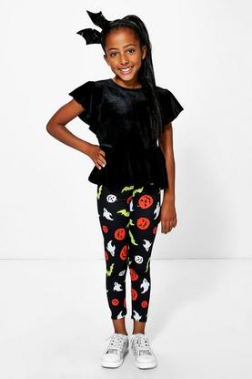 Girls Pumpkin Print Leggings