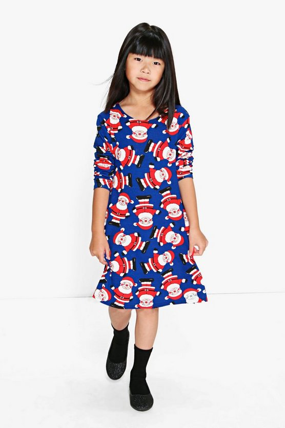 Girls Father Christmas Swing Dress