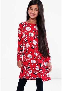 Girls All Over Father Christmas Swing Dress