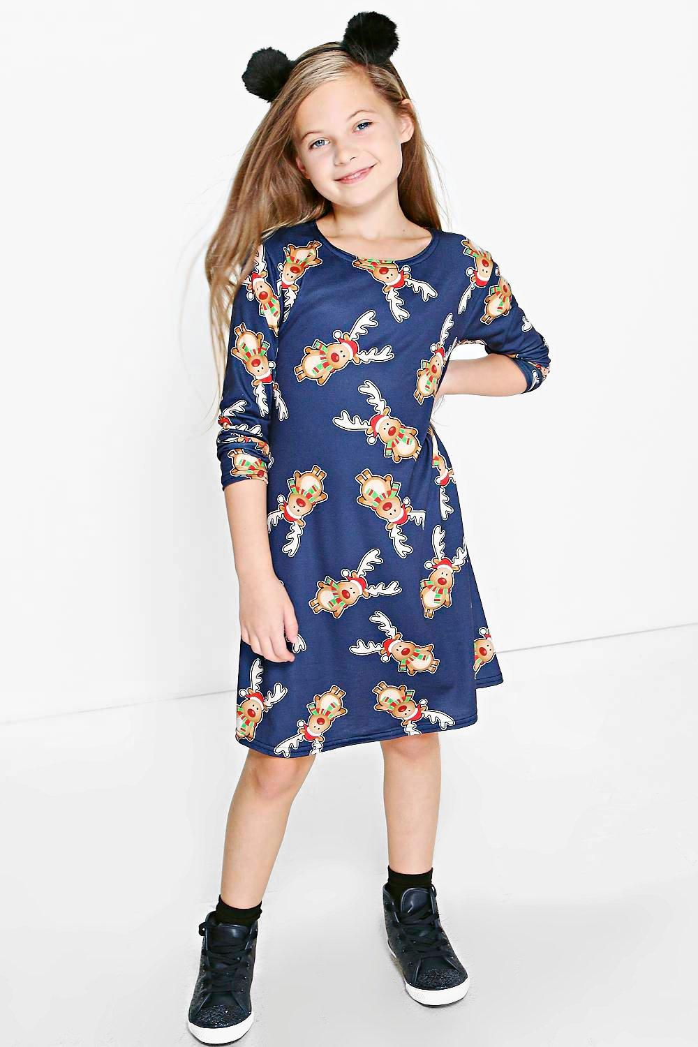 Girls Rudolph Christmas Swing Dress