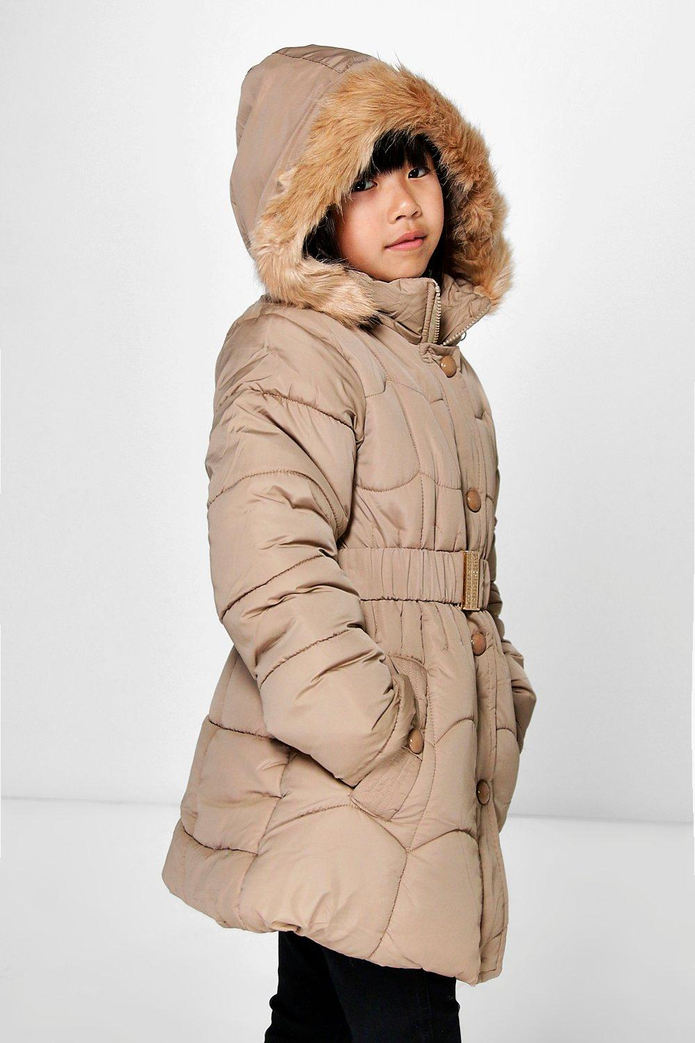 Girls Faux Fur Belted Padded Coat