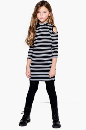 Girls Ribbed Stripe Cold Shoulder Midi Dress