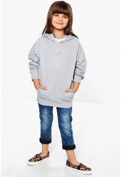 Girls Plain Hooded Sweat Top