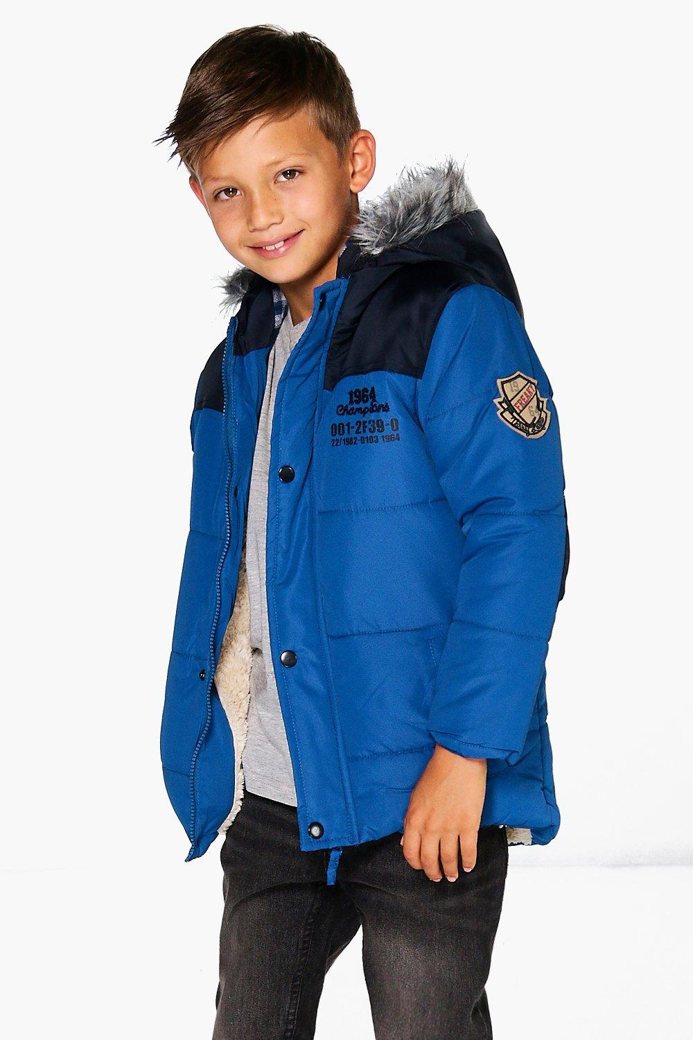 Boys Padded Coat With Checked Faux Fur Hood