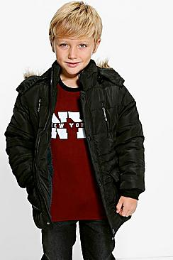 Boys Padded Coat With Faux Fur Hood