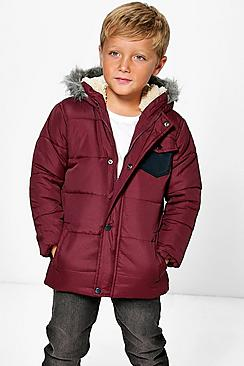 Boys Padded Faux Fur Hooded Coat