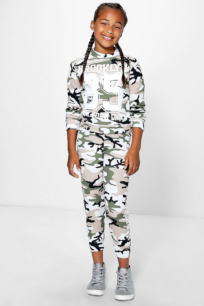 Girls Brooklyn Camo Print 2 Piece Set
