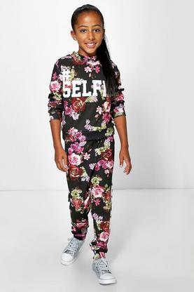 Girls Floral Print Selfie 2 Piece Set