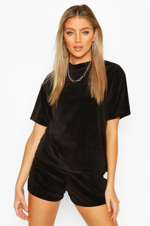 Womens Premium T-Shirt aus Velours - schwarz - 36, Schwarz - Boohoo.com