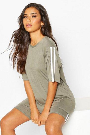 Khaki Soft Side Stripe Shorts Lounge Set