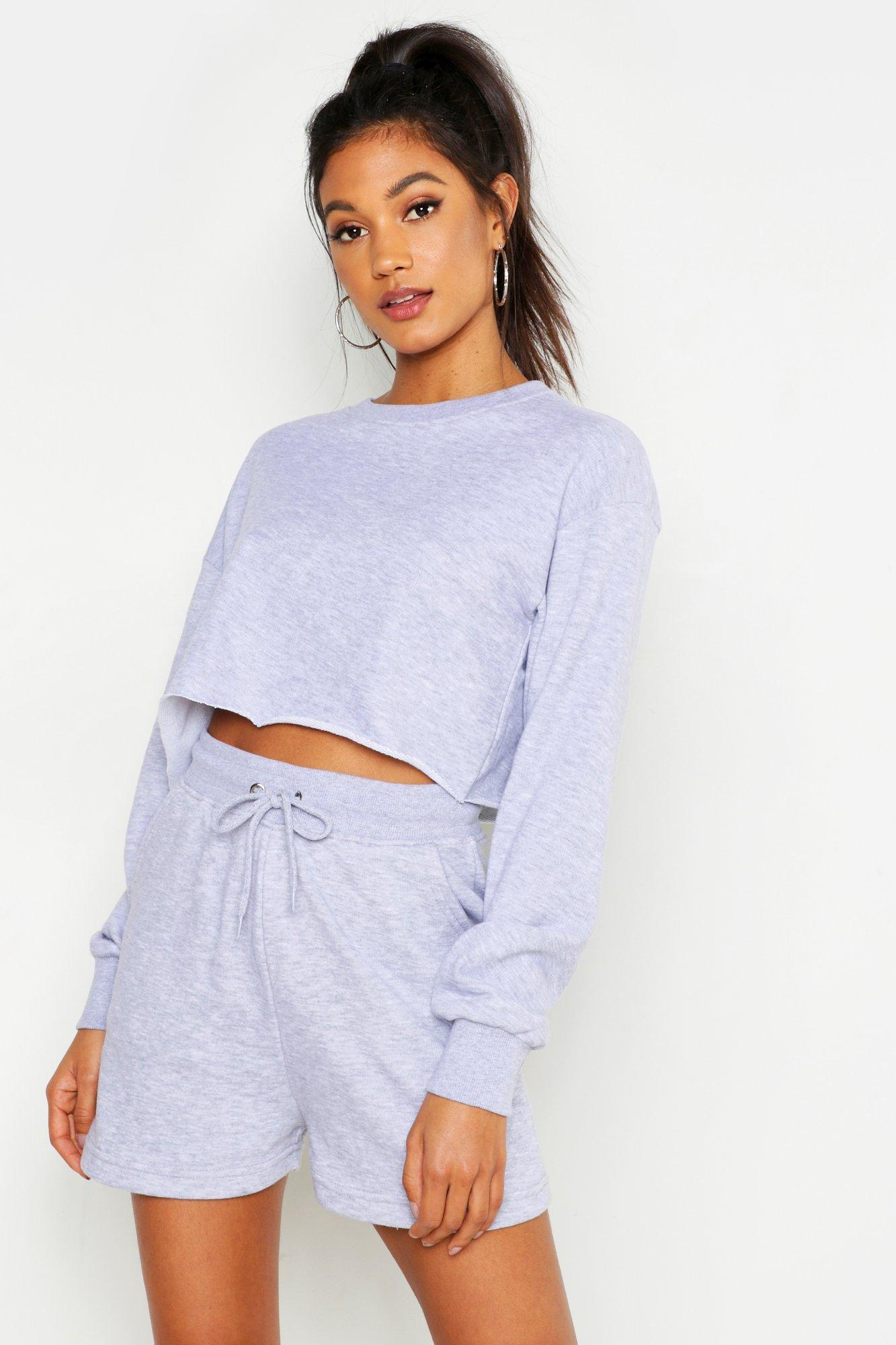 Womens Weiches, kurzes Sweatshirt aus Loopback-Stoff - Grau meliert - 40, Grau Meliert - Boohoo.com