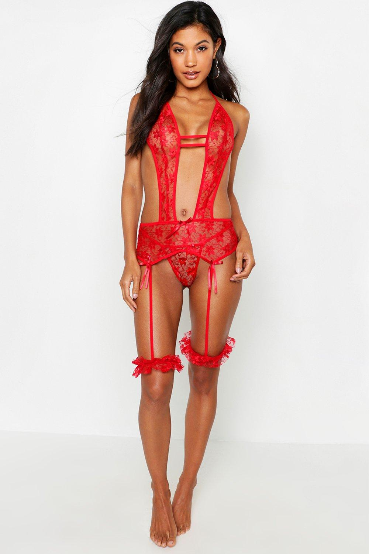 Купить Нижнее белье, Lace Plunge Suspender Body, boohoo