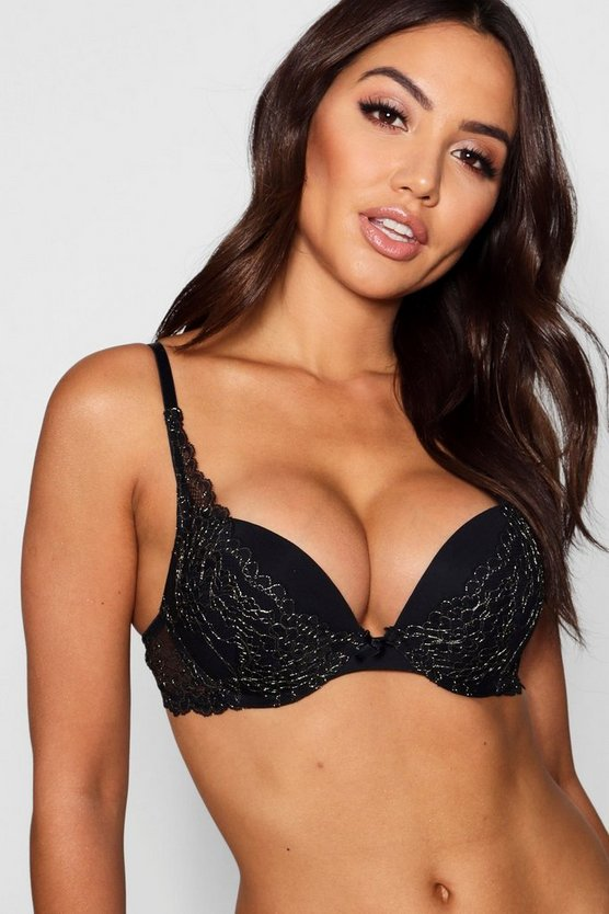 Regan Glitter Lace Super Push Up Bra