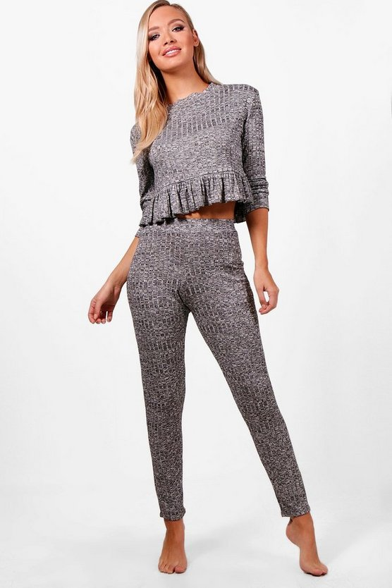 Holly Ruffle Hem Rib LoungeSet