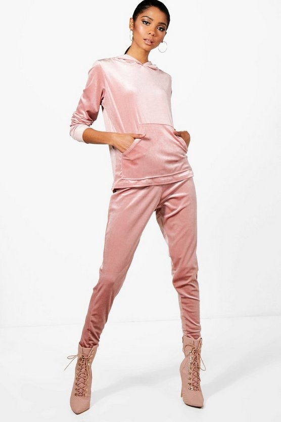 Hannah Athleisure Velour Hooded Tracksuit