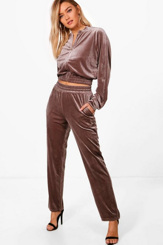 Brooke Velour Zip Through Tracksuit