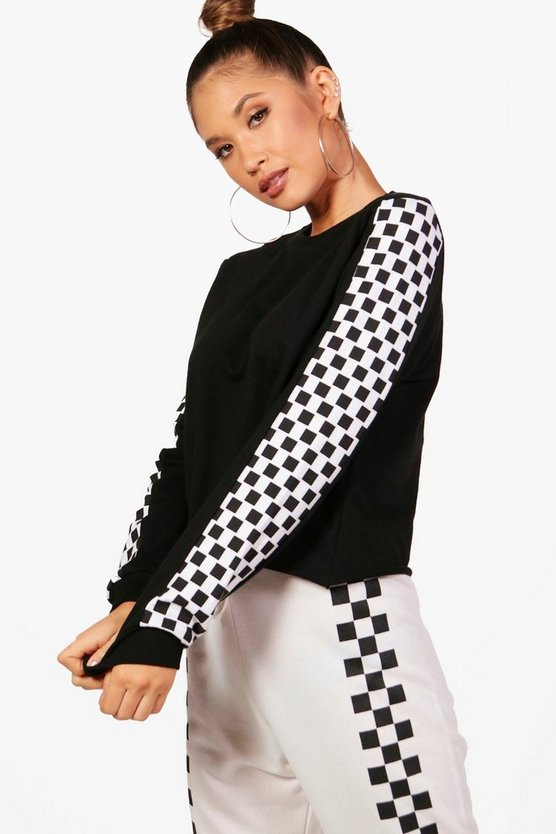 Naomi Fit Checkerboard Athleisure Jumper