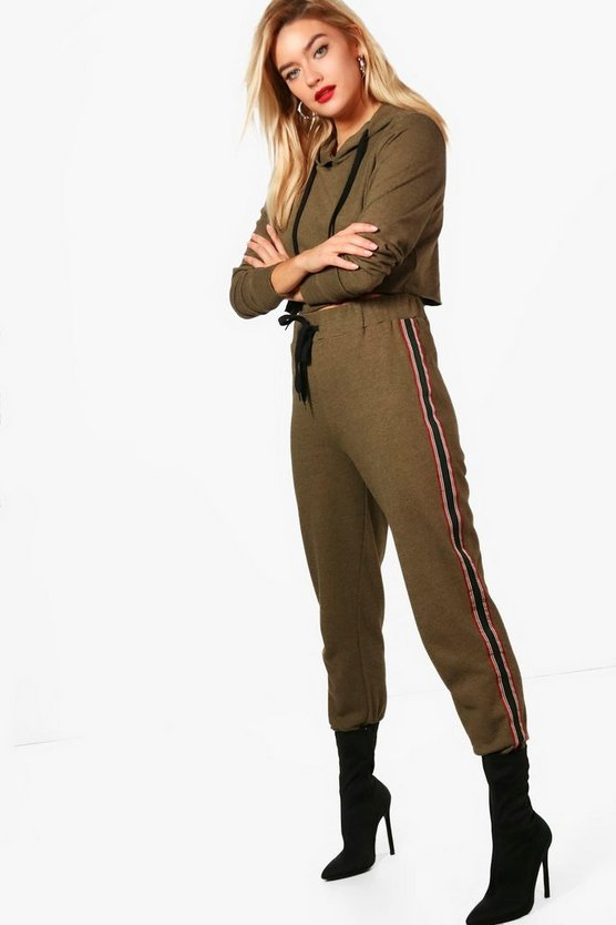 Callie Stripe Elastic Hooded Tracksuit