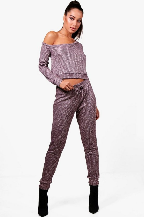 Molly Off The Shoulder Ribbed Tracksuit