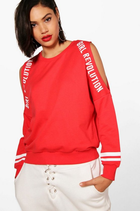 Lila Athleisure Cold Shoulder Slogan Sweat