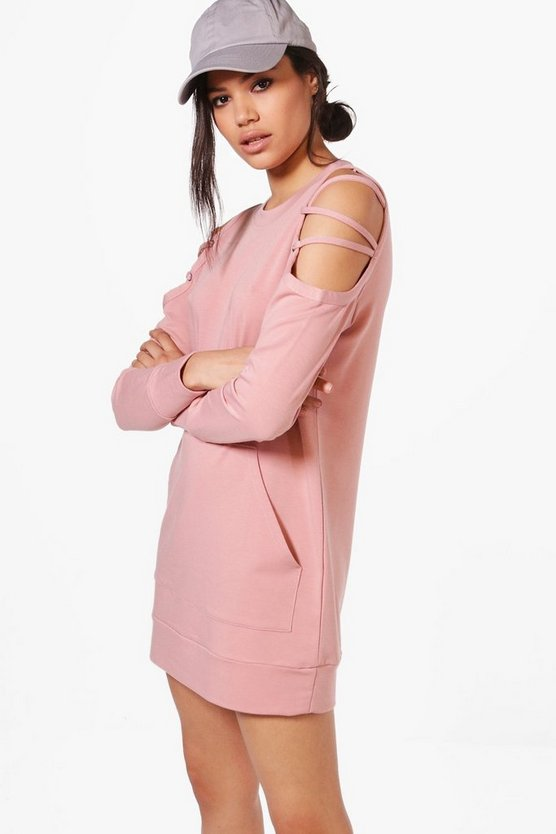 Niamh Lace Up Cold Shoulder Sweat Dress