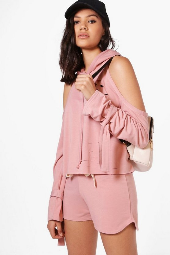 Eve Cold Shoulder Hoodie + Short Set