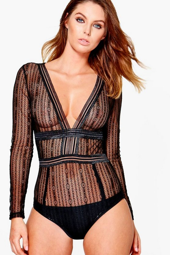 Erin Long Sleeve Cut Out Lace Body