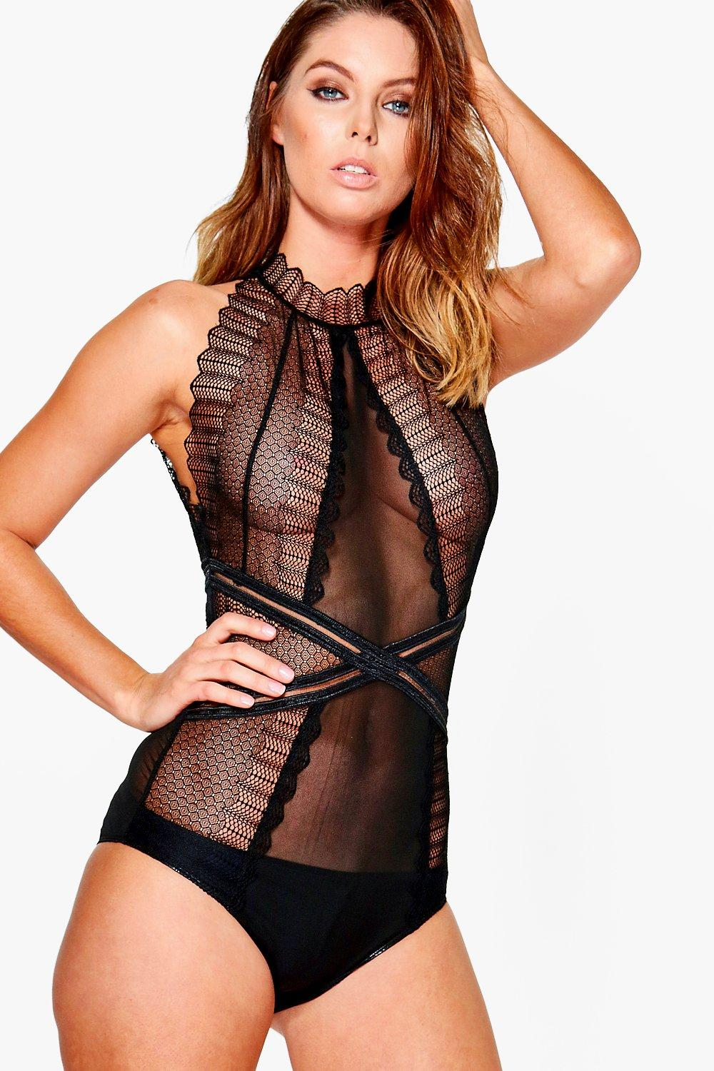 Ella High Neck Geo Lace Body