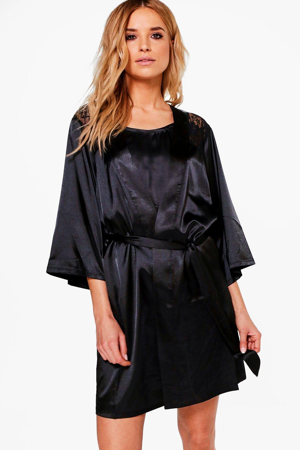 Holly Lace Back Satin Robe