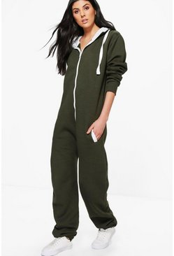 Lauren Contrast Pocket And Tie Zip Up Onesie
