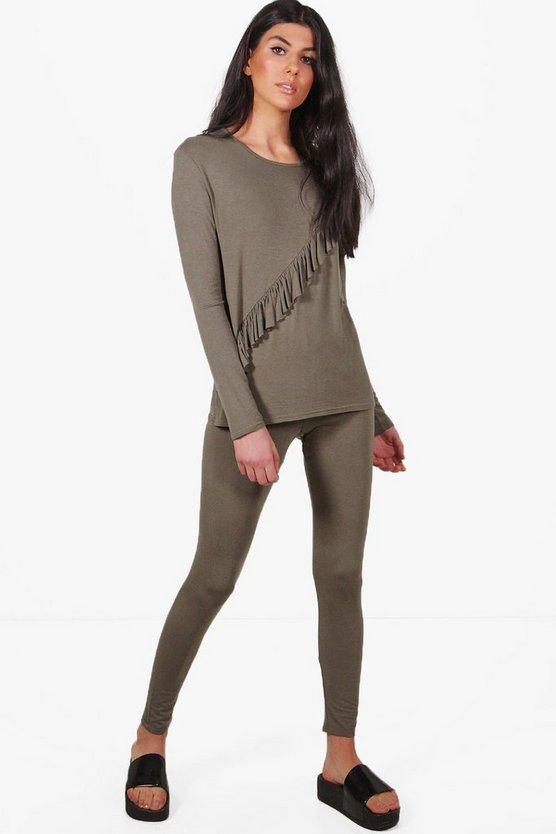 Sarah Jersey Ruffle Lounge Top + Legging Set